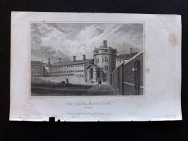 W. H. Ireland 1830 Antique Print. The Gaol, Maidstone, Kent